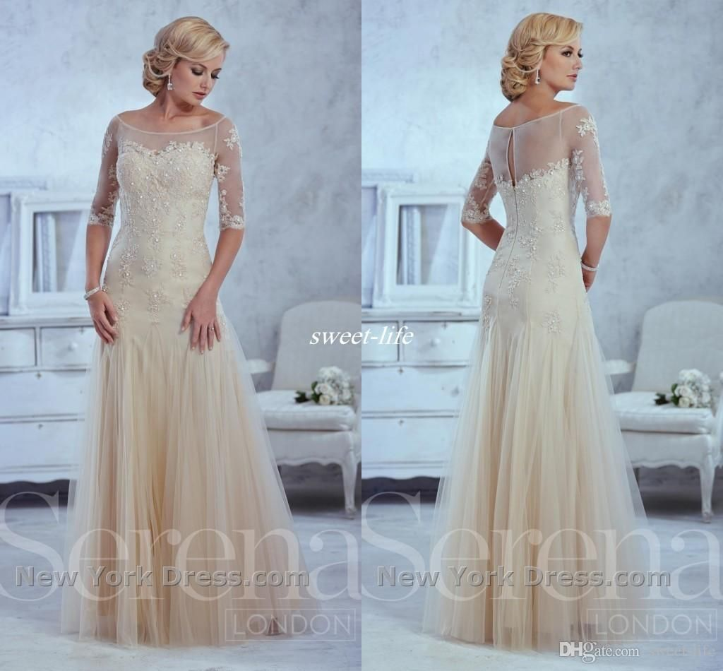 Sheer Champagne Mermaid Evening Gowns Mother of The Bride Dresses ...