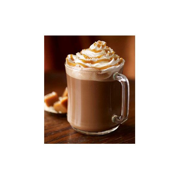 Salted Caramel Hot Chocolate ❤ liked on Polyvore featuring food, backgrounds, pictures, drinks and fall
