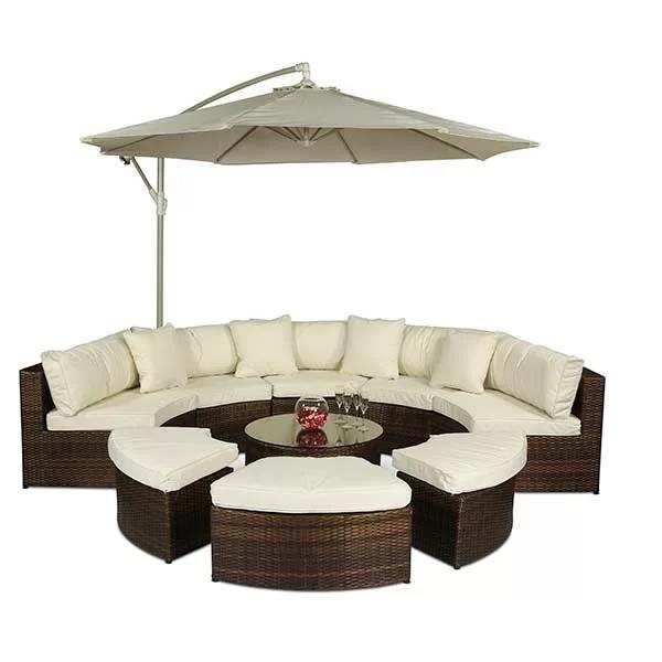 Haringe 8 Seater Rattan Sofa Set In 2020 Rattan Garden Furniture Garden Sofa Set Semi Circle Sofa