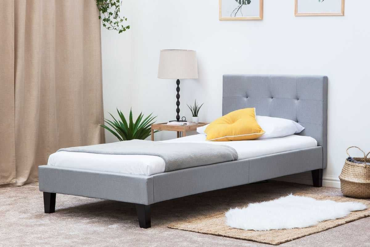 Blenheim grey fabric upholstered single bed frame
