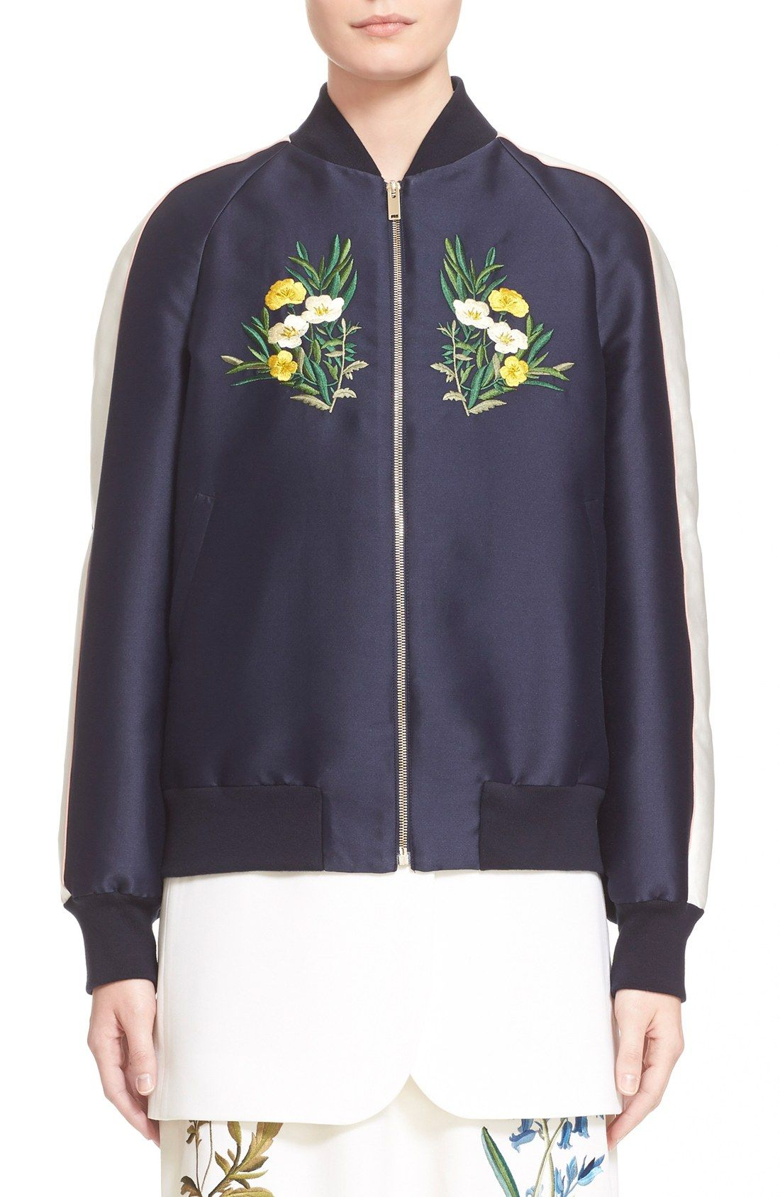f8d8c8fe32 Stella McCartney  Lorinda  Floral Embroidered Bomber Jacket