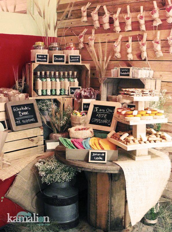 Candy bar mesa de dulces postres country vintag - Pinterest deco vintage ...