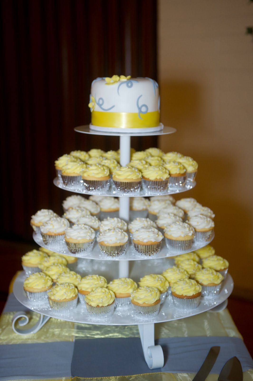 yellow and gray wedding cake pictures decadent designs s yellow and grey cupcake wedding 27685