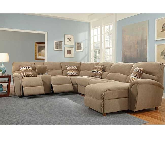 Nice $2,435.00?? Optional Fold Out Bed Beige Fabric Sectional Sofa