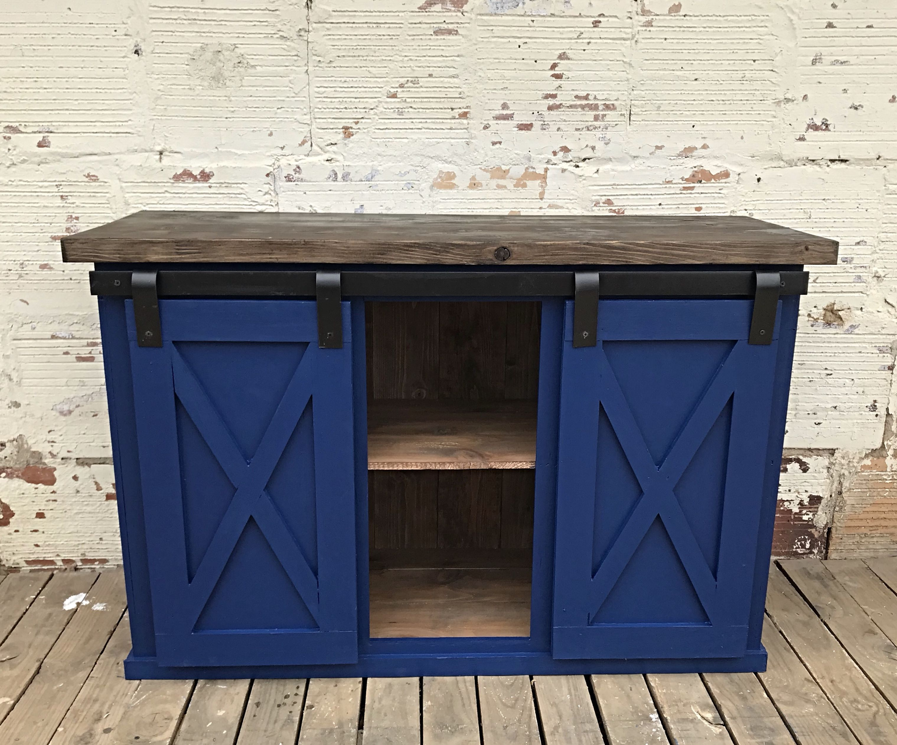 Gorgeous Royal Blue Sliding Barn Door Buffet X Style Doors And Sides All Handbuilt Gorgeous Honey Oak Stained Top And Shelves Blue Barns Barn Door Oak Stain