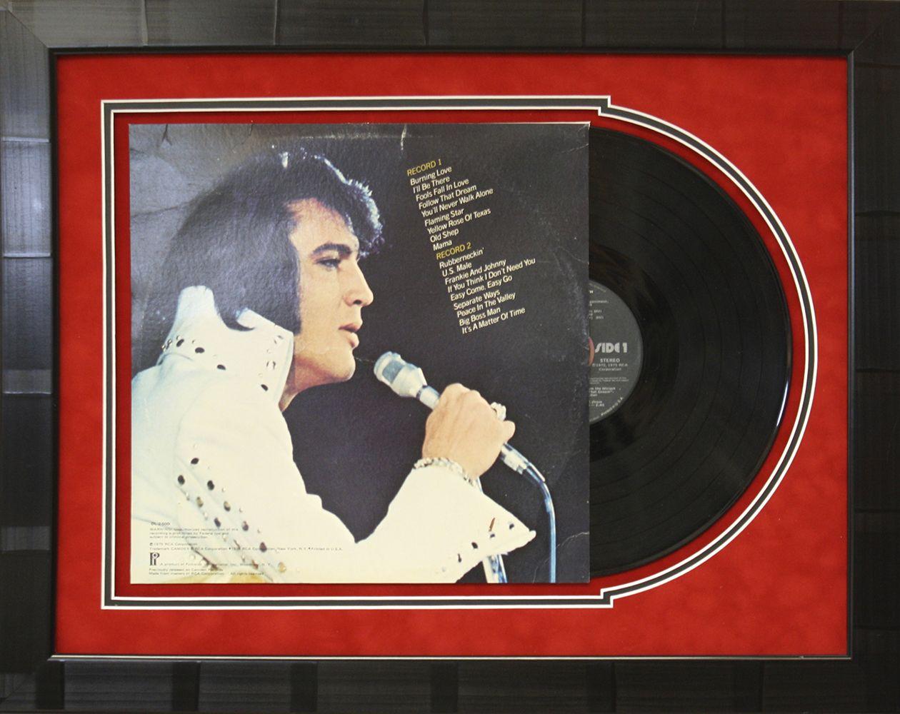 Elvis album art framed with custom suede mat board to reveal elvis album art framed with custom suede mat board to reveal record designed and framed jeuxipadfo Image collections