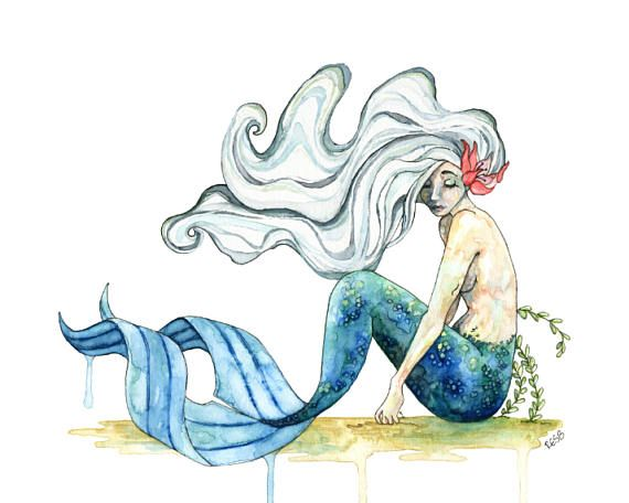Watercolor Mermaid Painting Mermaid Print Mermaid Decor Mermaid