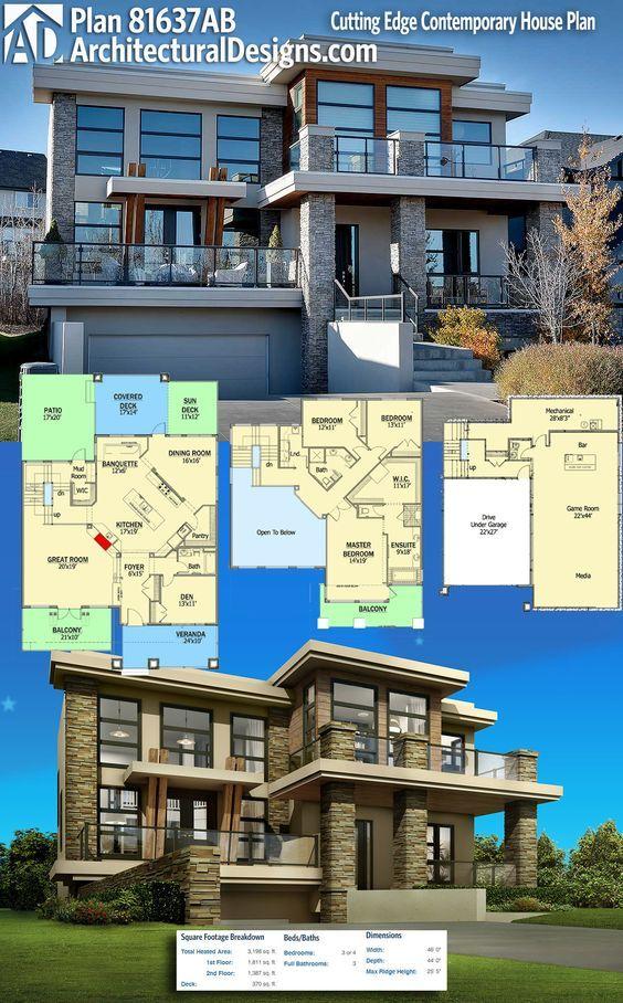 Plan 81637AB Cutting Edge Contemporary House