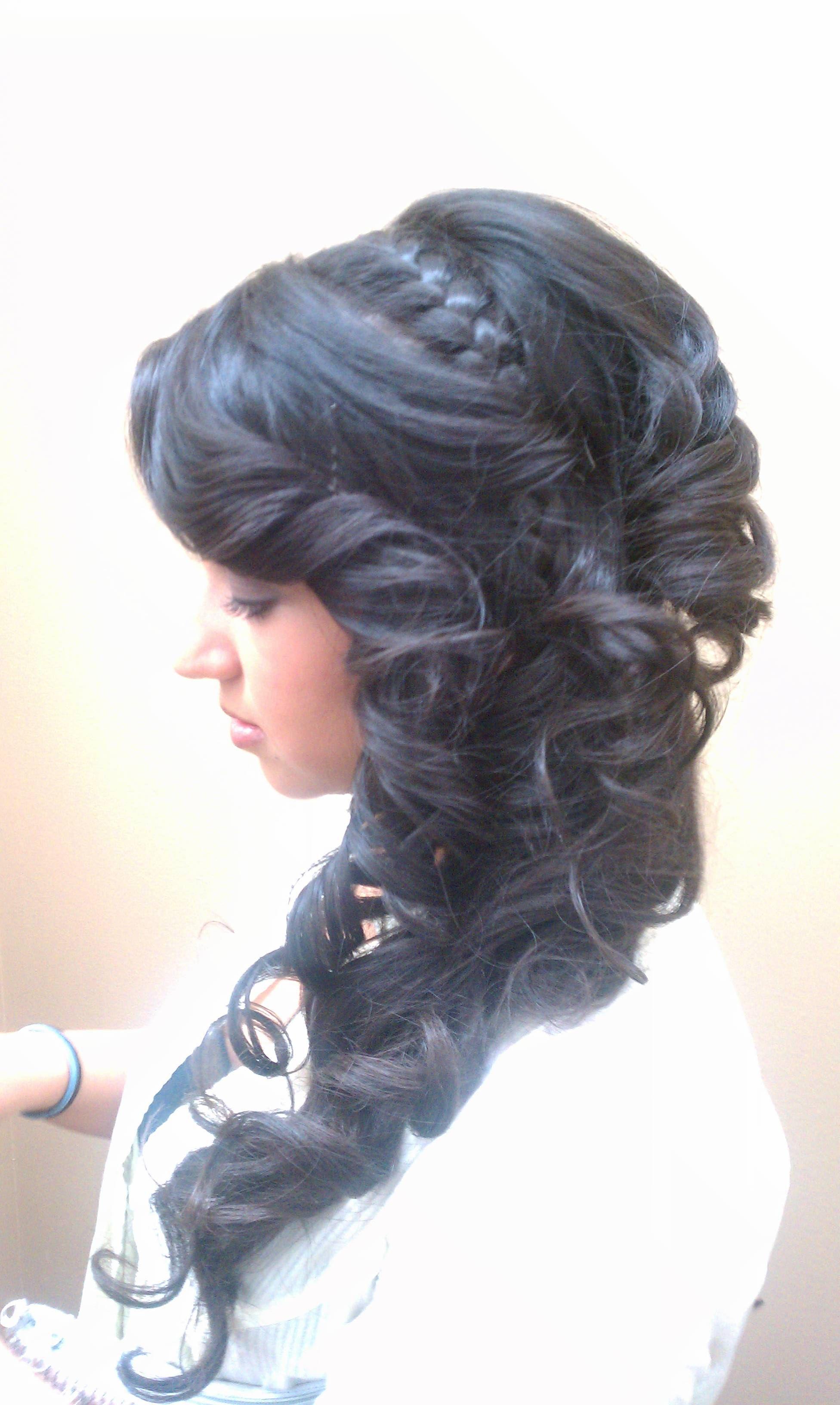 side, updo, long hair, braid, curls, tight curls, upstyle