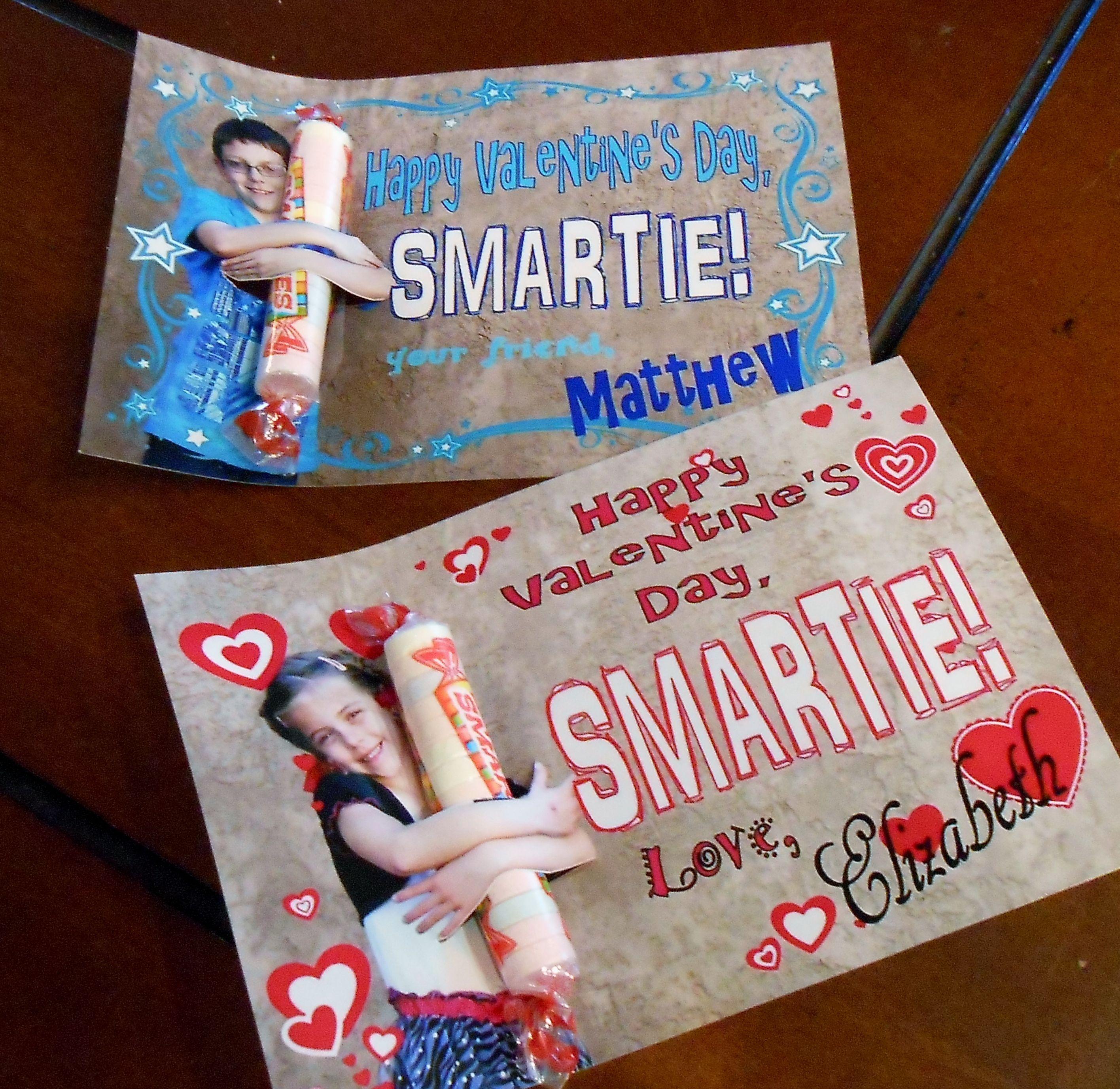 Smartie photo Valentines Day cards  School Valentines  made