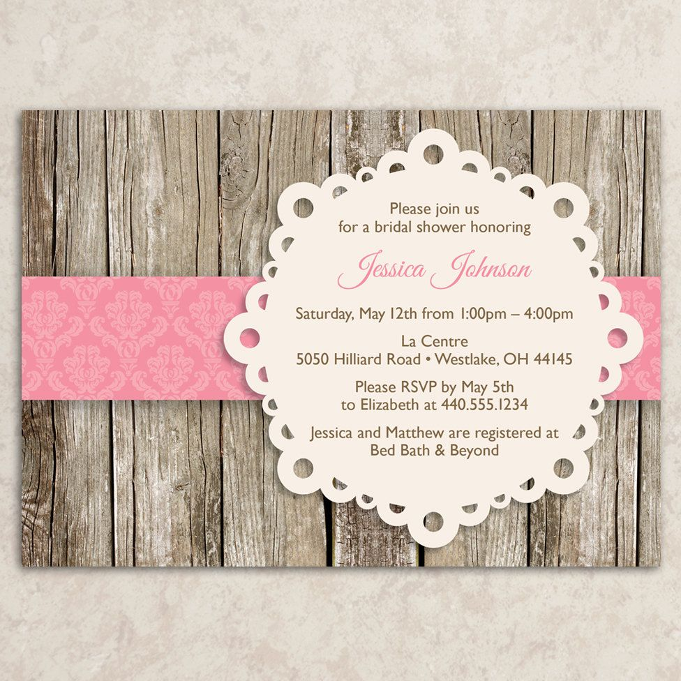 Rustic invitation printable jpeg file rustic invite for Bridal shower invitation designs