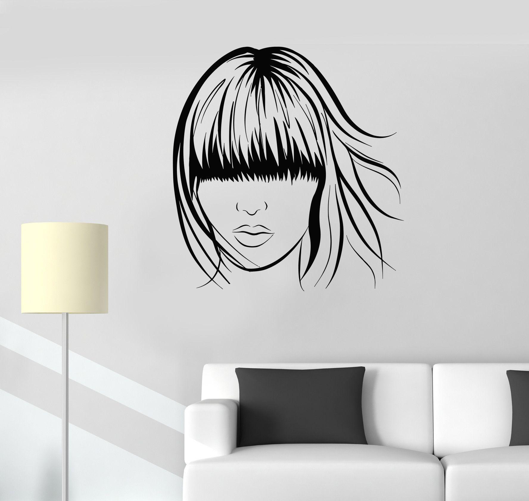 Wall decal woman hairstyle hair salon beauty spa barber vinyl mural