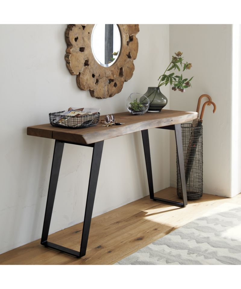 Yukon Natural Console Table Reviews Crate And Barrel Gray