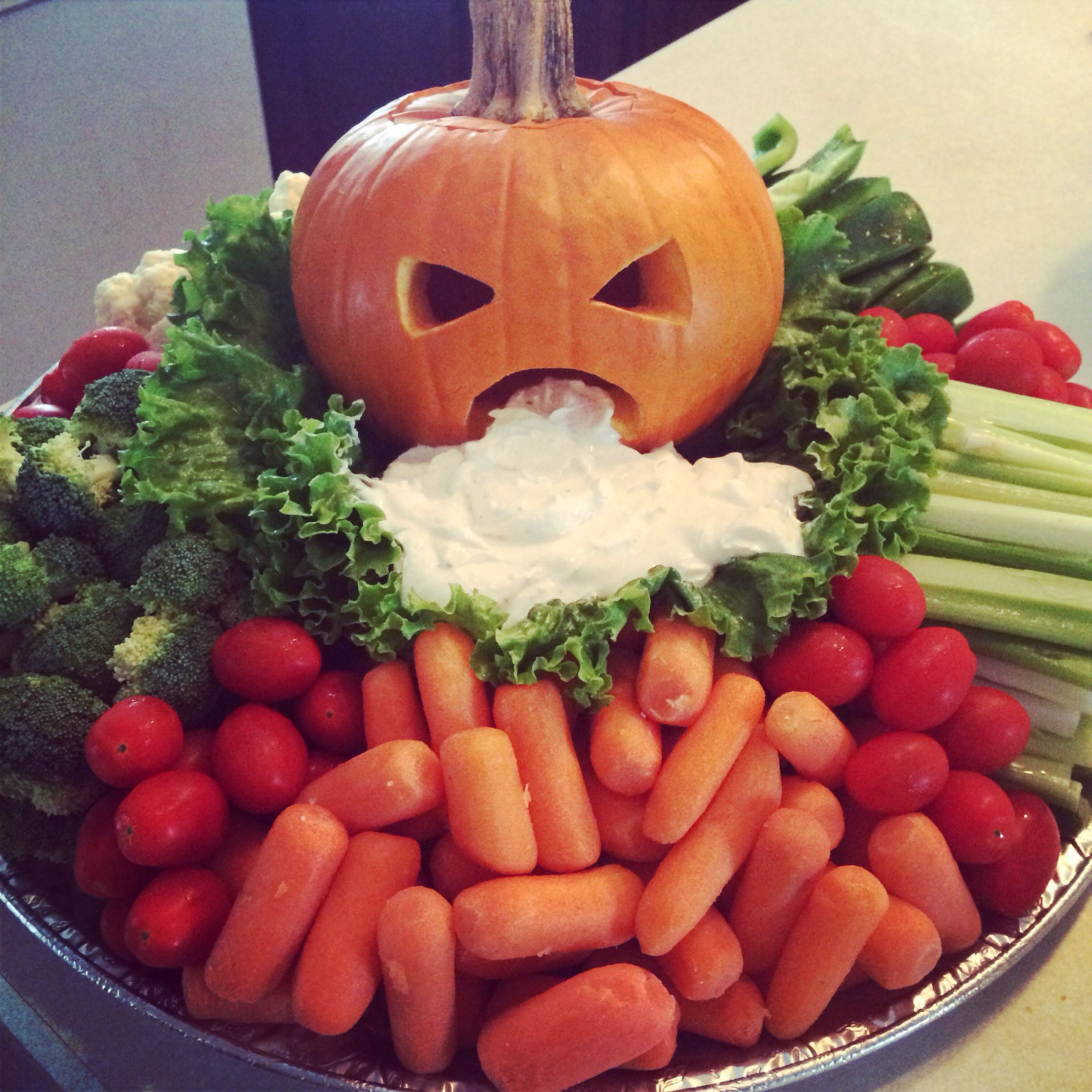 My Puking Pumpkin Veggie Tray ready for our tailgate tonight