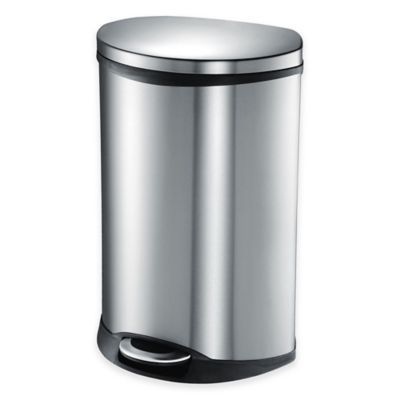 EKO Shell Stainless Steel Semi-Round 50-Liter Soft-Close Step Trash Can - BedBathandBeyond.com   I like this because it's 50 liters/13 gallons.  Also, it's semi-round and easy to clean.