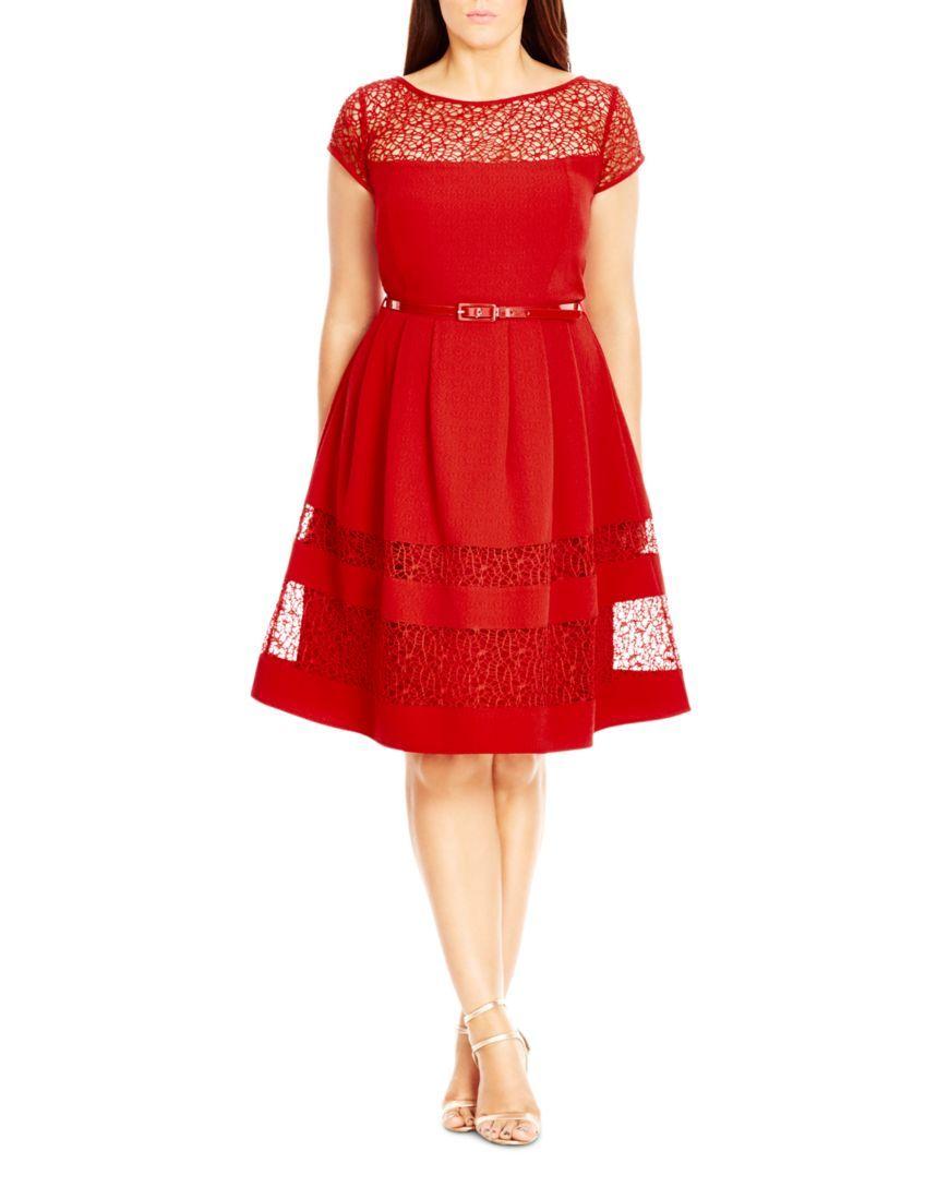 City Chic Delicate Lace Dress Women Plus Bloomingdale S Cocktail Dress Lace Plus Size Dresses Plus Size Red Dress [ 1088 x 870 Pixel ]