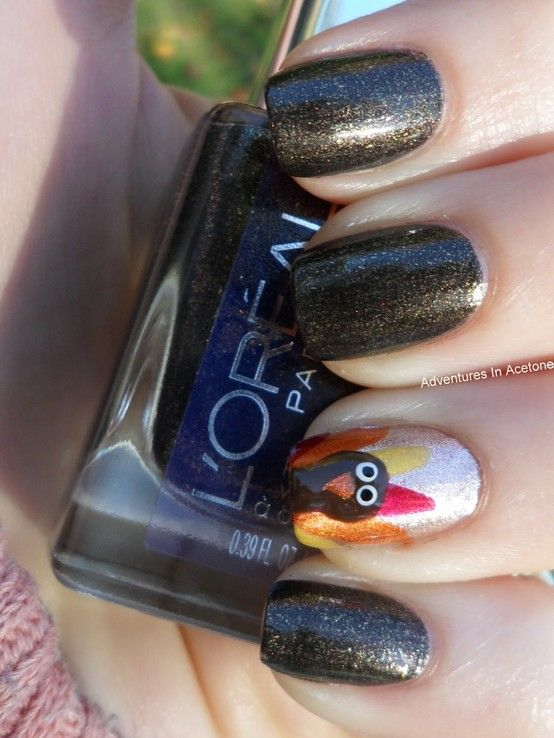 Turkey Day Nail Art Cute Enough to Be the Thanksgiving Table ...