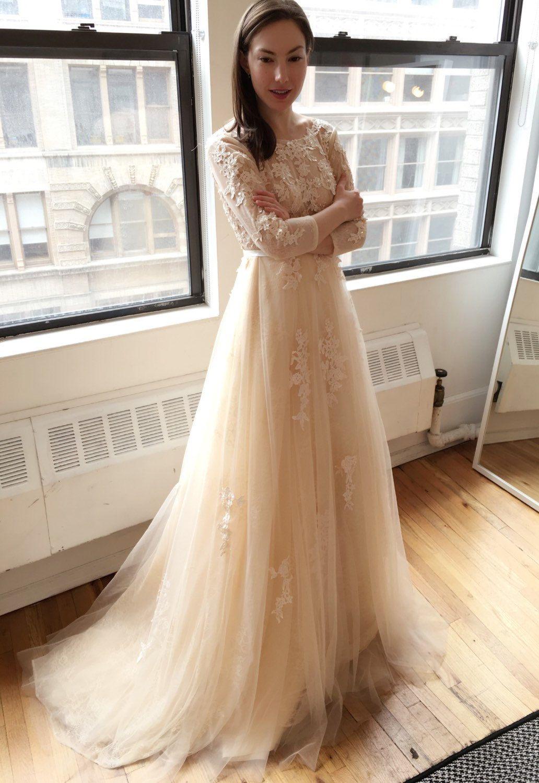 Light Creamy Champagne Long Sleeve Deep V Lace Wedding Dress Etsy Boho Wedding Dress Lace Bohemian Wedding Dress Lace Boho Wedding Dress [ 1500 x 1032 Pixel ]