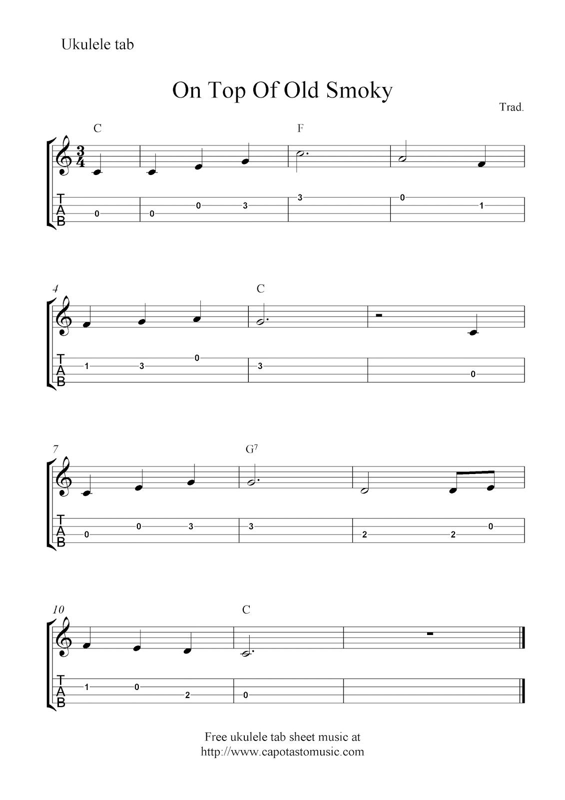 Free Sheet Music Scores On Top Of Old Smoky Ukulele Tab