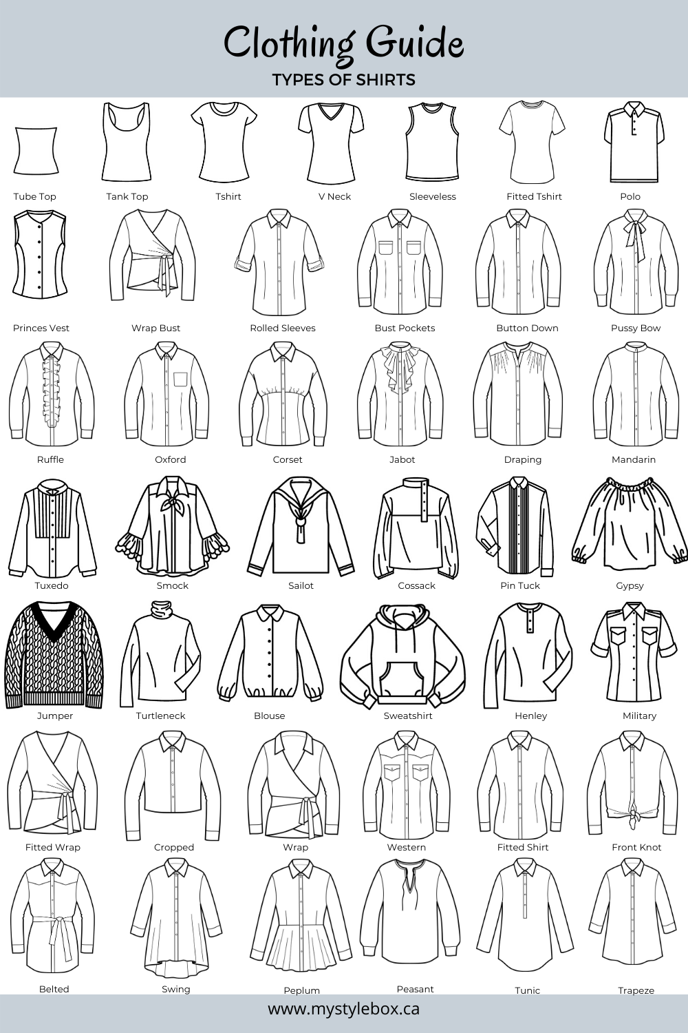 Clothing Guide - Types of Shirts   Fashion vocabulary, Fashion design  sketches, Fashion illustrations techniques