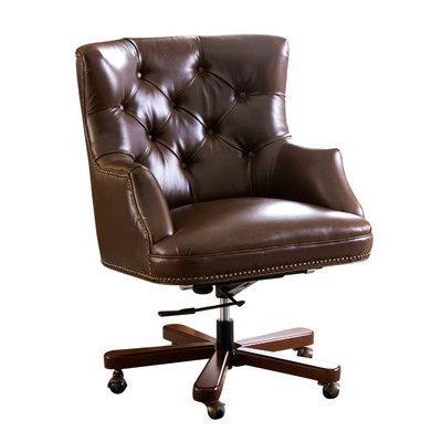 Rosalind Wheeler Broughshane Leather Desk Chair Products Brown