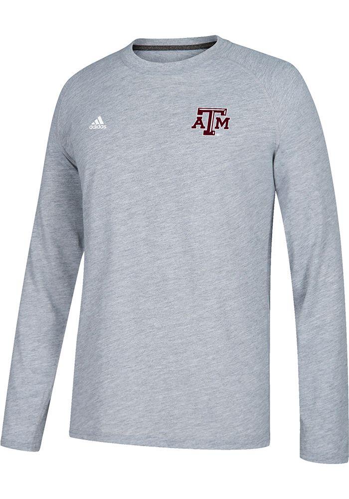 Adidas Texas A&M Aggies Grey Logo Long Sleeve T Shirt