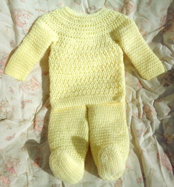 d35d3d64f2d3 Crocheted Baby Girl Top Pant 2-Piece Set Yellow Infant 6 – 12 mo ...
