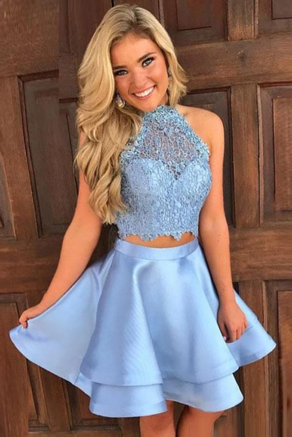 Two Pieces Princess Halter Homecoming Dresses b252d6fc3