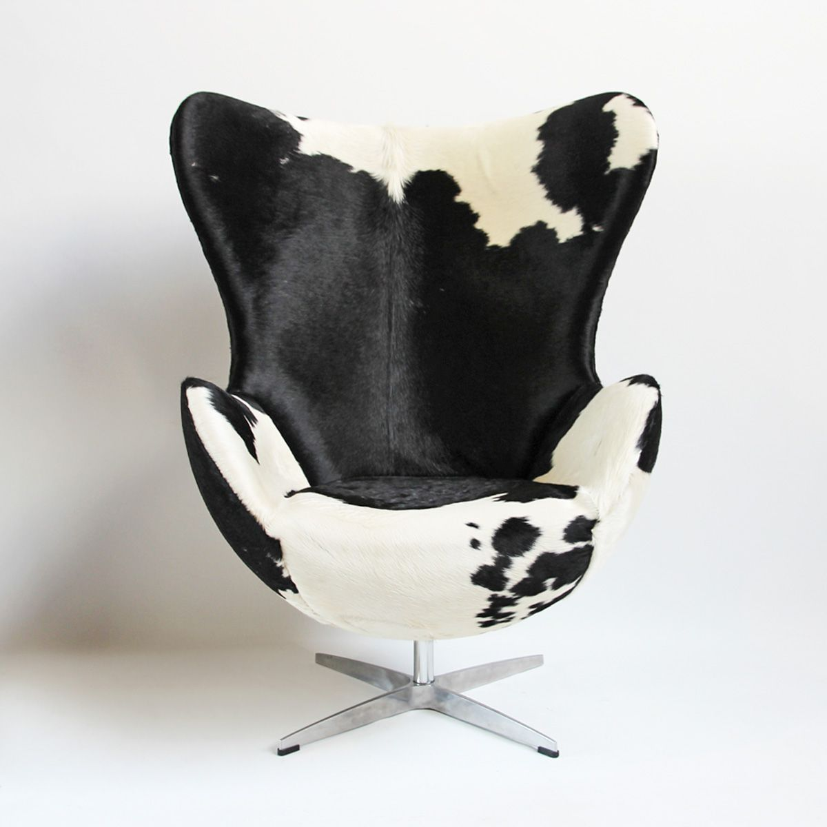 Check Out Our Chairs At Mix Furniture! Striking Black And White Cow Hide  Upholstered Egg