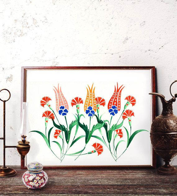 ottoman tulip motif watercolor painting turkish red tulip wall art