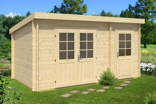 Pultdach Gartenhaus Modell Maria40 mit Anbau ISO Shed