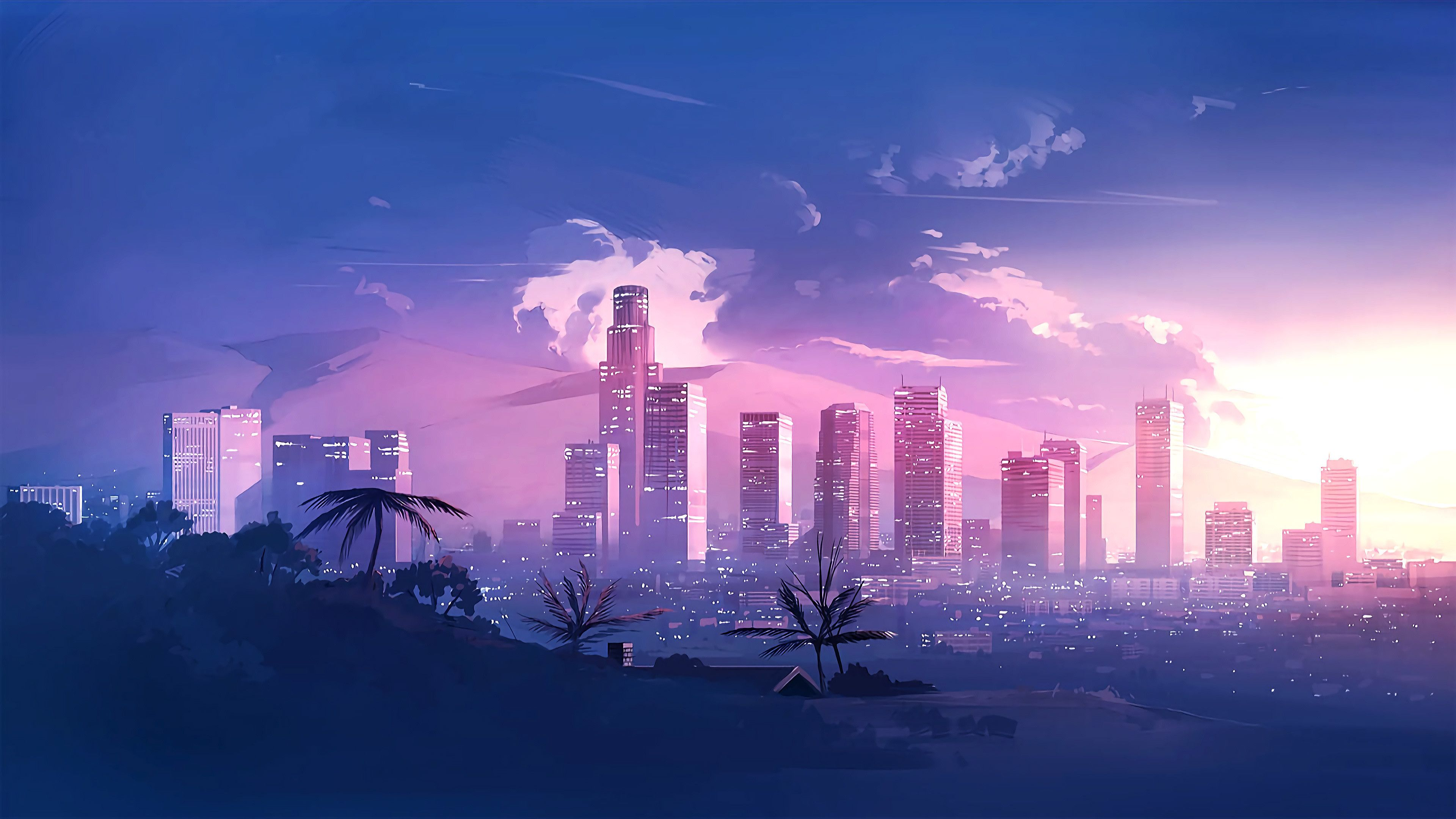 Los Angles City Minimalism Art 4k In 2020 Anime Scenery Wallpaper City Wallpaper Anime Scenery