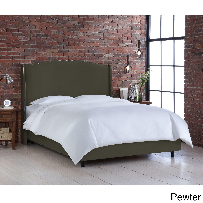 Nail Button Velvet Upholstered Wingback Bed- Skyline Furniture (Full ...