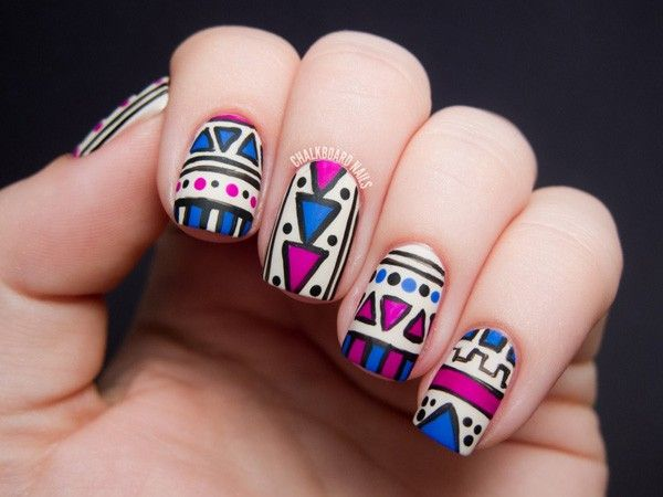 tribal nails - 65 Colorful Tribal Nails Make You Look Unique  <3 !