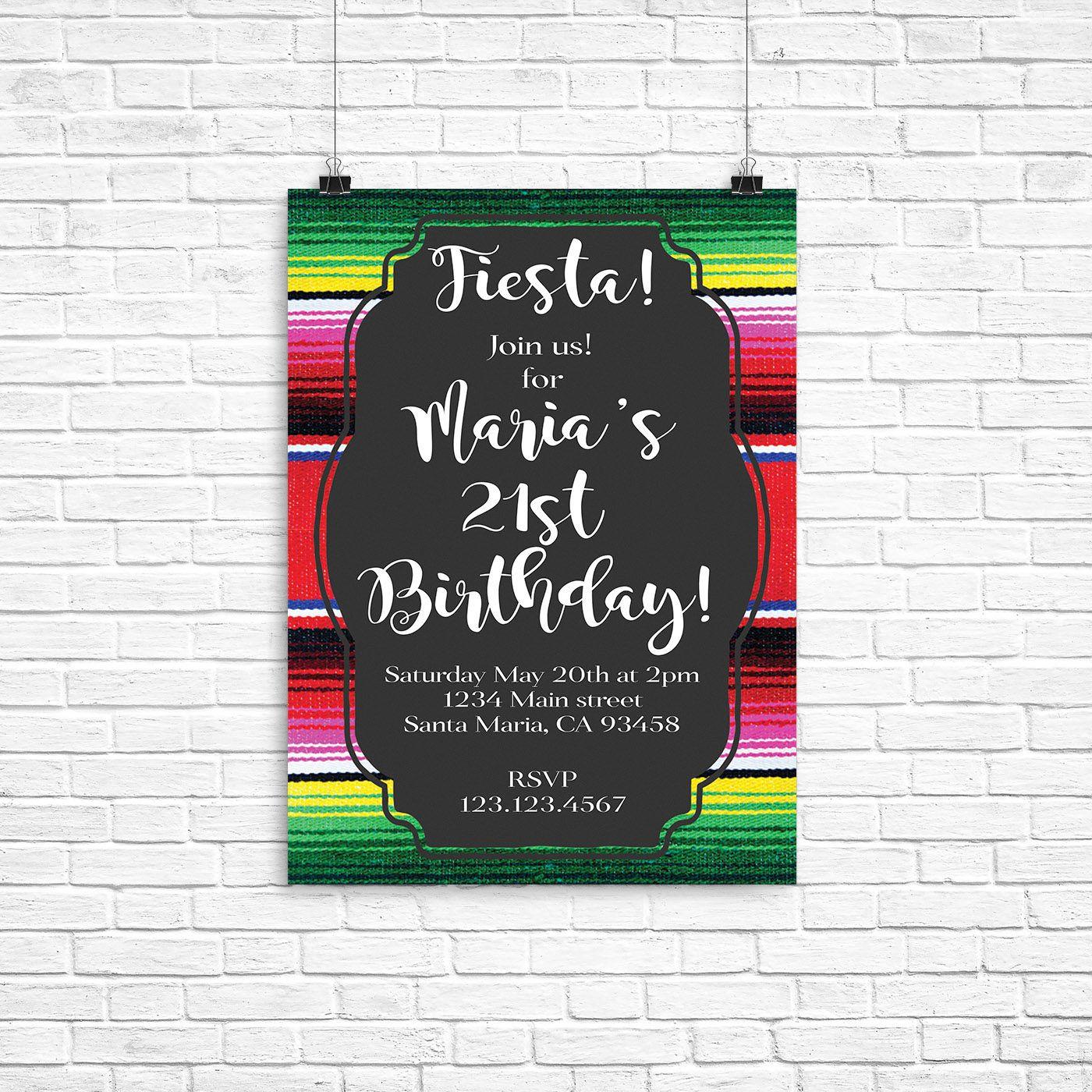 Fiesta invitation, sarape invitation, fiesta birthday party ...
