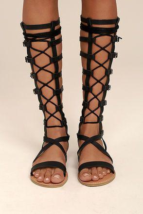 27cf3250d2c Agalia Black Tall Gladiator Sandals 2