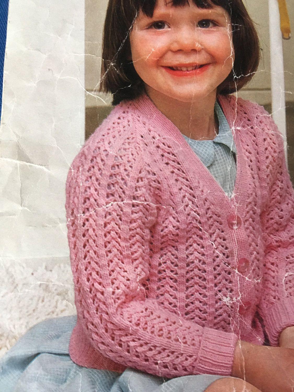 Knitting Pattern Children Baby Girl Cardigan 3-4 Ply DK 22 ...
