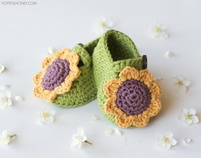 Blooming Sunflower DIY Baby Booties | Crochet | Pinterest