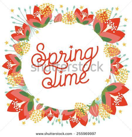 spring time flower wreath.vector and illustration design.