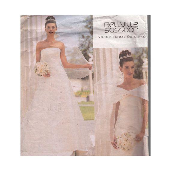 Vogue Wedding Dress Pattern 2717 Bellville Sassoon Strapless ...