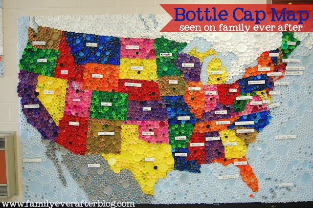 Us Bottle Cap Map Family Ever After.: Upcycled Bottle Cap Map of USA | Bottle cap