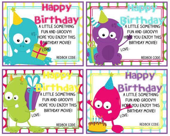 Printable Redbox Birthday Gift Card Happy Birthday Monsters – Gift Card Happy Birthday