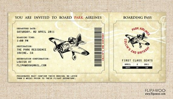 Vintage Airplane Invitation (Boarding Pass Style) for a Birthday - plane ticket invitation template