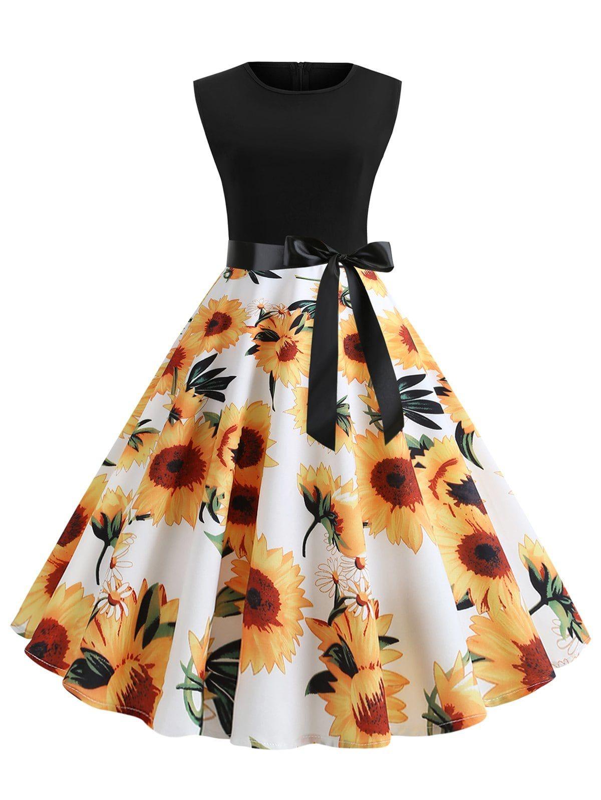 Sunflower Print Sleeveless Belted Flare Dress Sleeveless Dress Summer Womens Dresses Fashion Dresses [ 1596 x 1200 Pixel ]