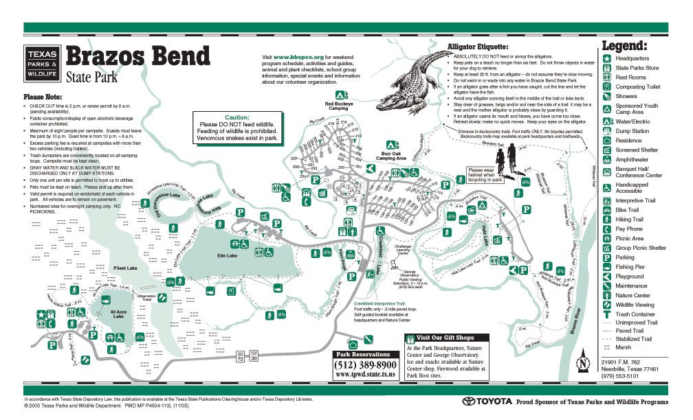 Brazos Bend State Park Map BRAZOS BEND   NEEDVILLE | Happy Campers! | State parks, Camping
