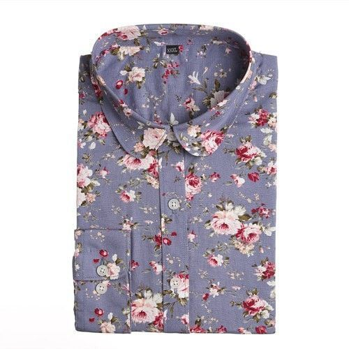 Women Summer Blouses Vintage Floral Blouse Long Sleeve Shirt  Female Tops Fashio