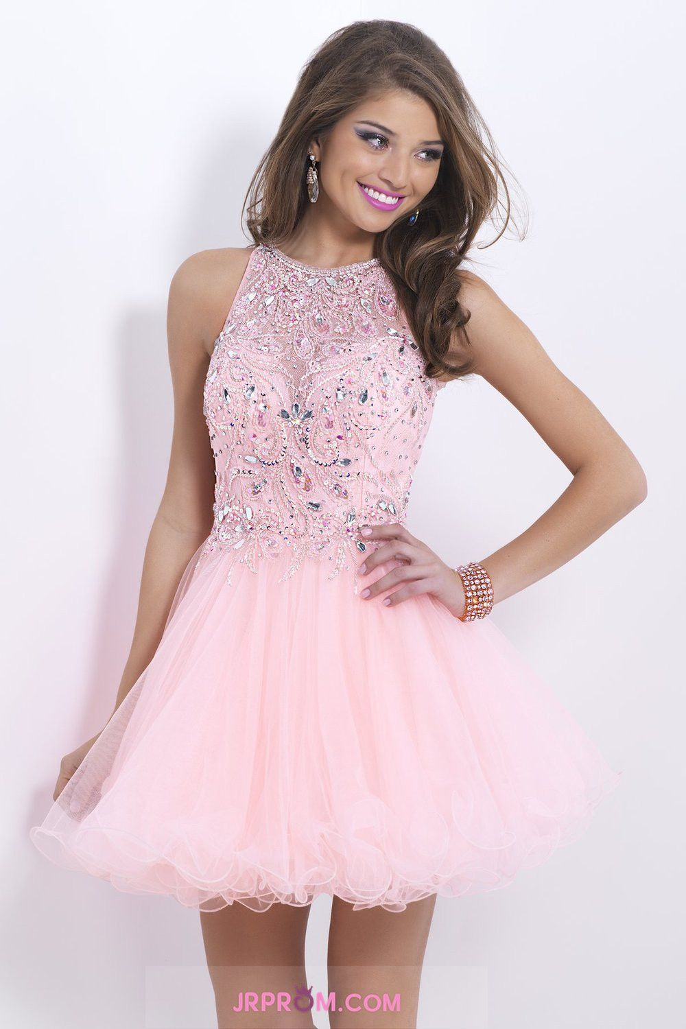 Stunning A Line Short/Mini Prom Dress Tulle With Beaded Lace Bodice ...
