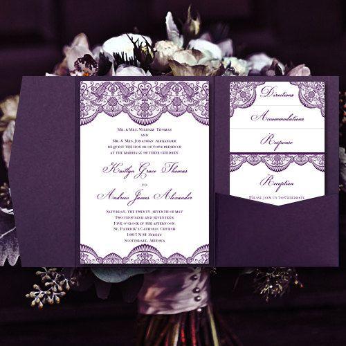 "Print Your Own Wedding Invitations Templates: Pocket Fold Wedding Invitations ""Vintage Lace"" Purple DIY"