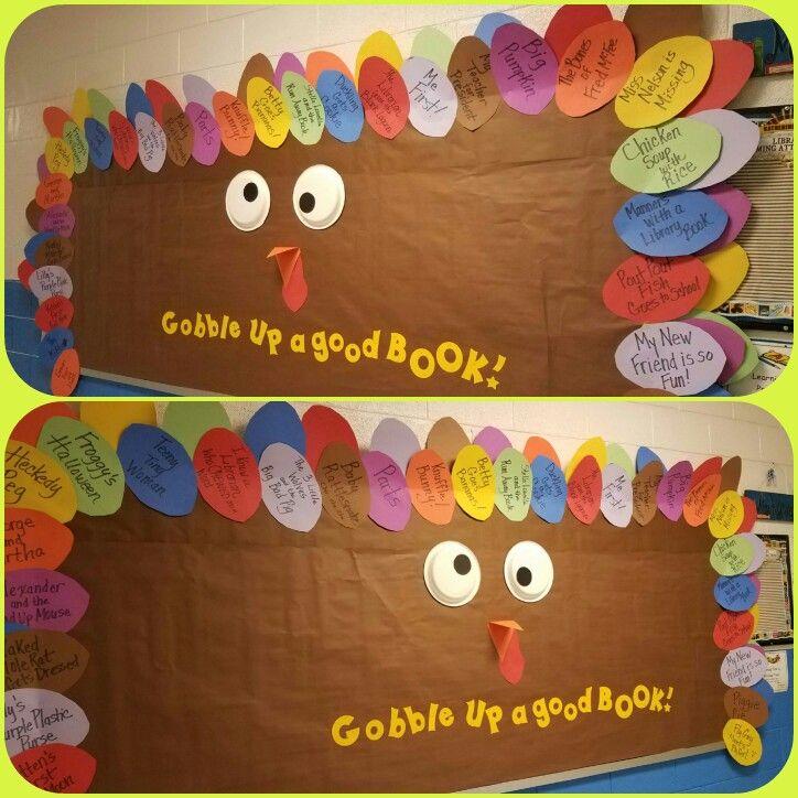 Thanksgiving Library Bulletin Board At Kid Reading Bulletin Boards Library Bulletin Board Birthday Bulletin Boards
