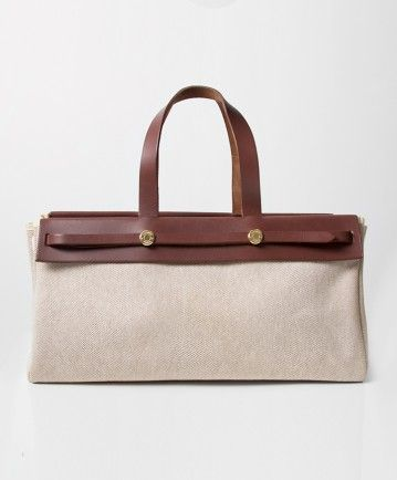 Authentic secondhand Hermès Herbag canvas off-white brown shoulder bag GHW  right price safe secure online shopping labellov vintage webshop . 3c52974a9b7a3
